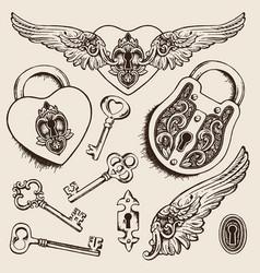 Keys and locks heart shaped padlock vector