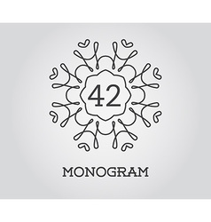 Monogram Design Template with Number Premium vector image