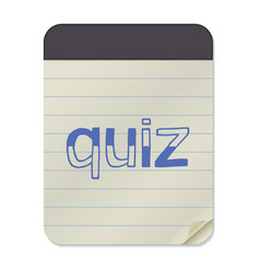 Quiz lettering on notebook vector