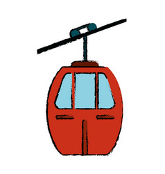 Red cable car transport icon vector