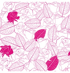 Seamless pattern as white rose flowers and leaves vector