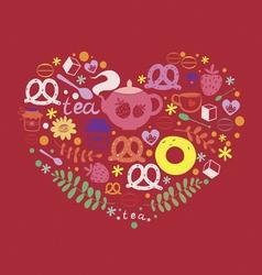 Tea and sweets ornamental heart vector