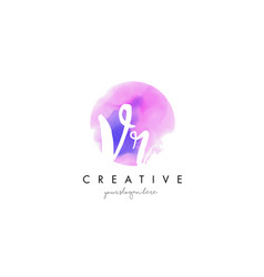 vr watercolor letter logo design with purple vector image vector image