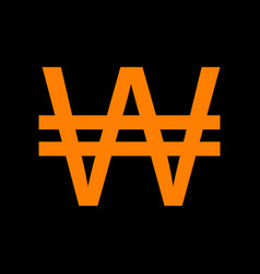 Won sign orange icon on black background old vector