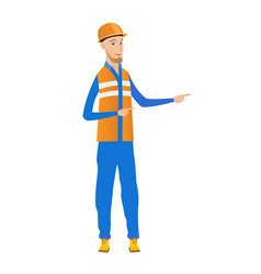 Young caucasian builder pointing to the side vector