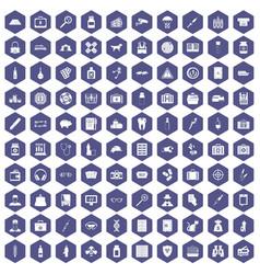 100 case icons hexagon purple vector