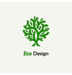 Abstract green tree template for creating logos vector