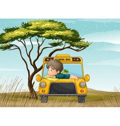 a school bus and boy vector image