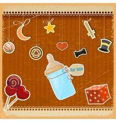 Vintage background with babys bottle of milk vector image
