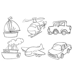 Silhouettes of the different transportations vector