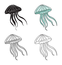 jelly fish icon in cartoon style isolated on white vector image