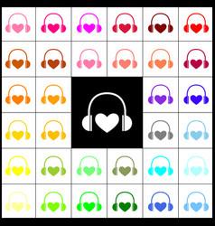 headphones with heart  felt-pen 33 vector image