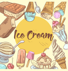 Ice cream hand drawn menu design vector