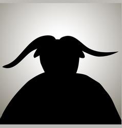 Black devil demon silhouette with horns vector
