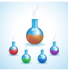 Set realistic flasks vector image