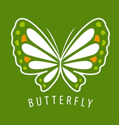 Logo delicate butterfly on a green background vector
