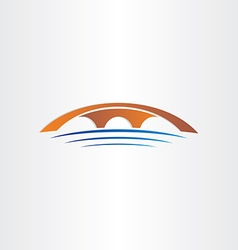 Bridge and river stylized symbol vector