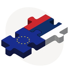 European union and serbia flags in puzzle vector
