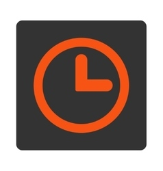 Clock flat orange and gray colors rounded button vector