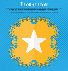 Favorite star floral flat design on a blue vector