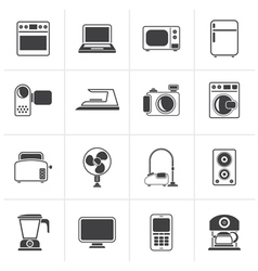Black household appliances and electronics icons vector