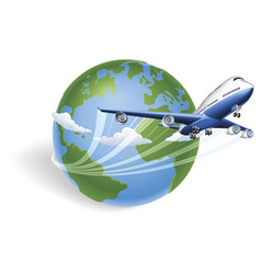 airplane globe concept vector image