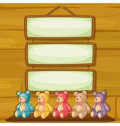 Bears below the hanging signboards vector image