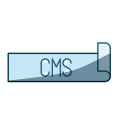 Blue shading silhouette label text of cms vector