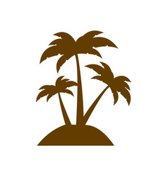 brown silhouette island with three palms vector image vector image