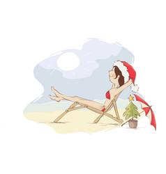 Christmas vacation on the beach vector