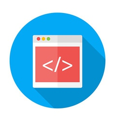 Coding flat circle icon with long shadow vector