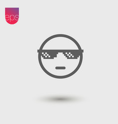 Cool face simple icon emblem pictogram clipart vector
