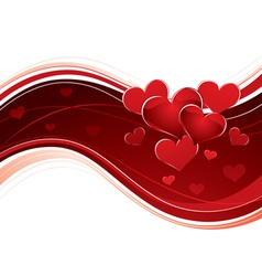 curving love heart banner vector image vector image