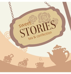 Cute sweet brown confection and tea shop signage vector