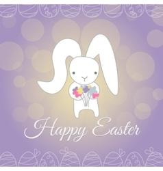 Cute white easter bunny spring flower vector