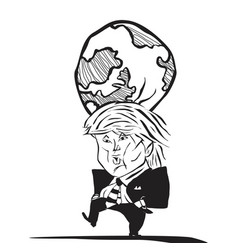 Donald trump and earth at his head caricature vector
