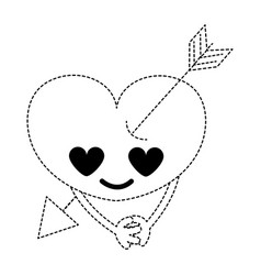 Dotted shape heart with arrow in love kawaii and vector