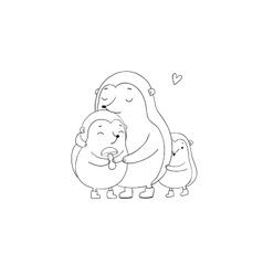 Family cute hedgehogs mom and kids cartoon vector