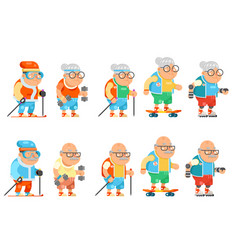Fitness granny grandfather adult healthy vector
