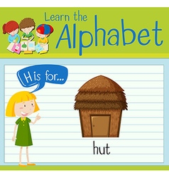 Flashcard letter H is for hut vector image vector image