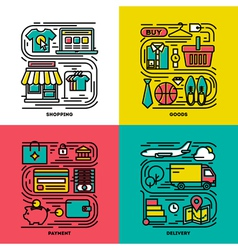 Flat line icons of shopping goods payment delivery vector image