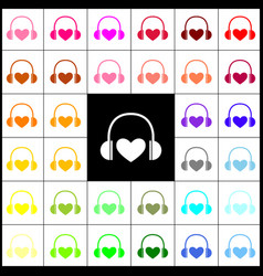 Headphones with heart felt-pen 33 vector