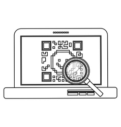 Isolated qr code and laptop design vector