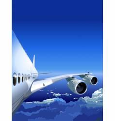 Jet cruising in the sky vector