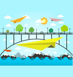 landscape with paper plains bridge and ocean vector image