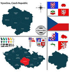 map of vysocina czech republic vector image vector image