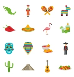 Mexico Flat Icon Set vector image