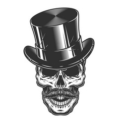 monochrome of skull with top hat and vector image vector image