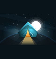 Night landscape tent and moon vector