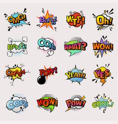 Pop art comic speech bubbles popart style vector